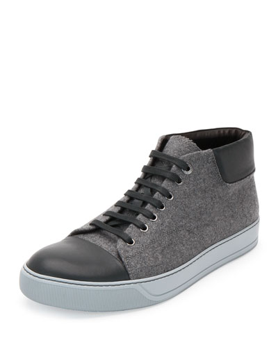 Flannel High-Top Sneaker, Gray