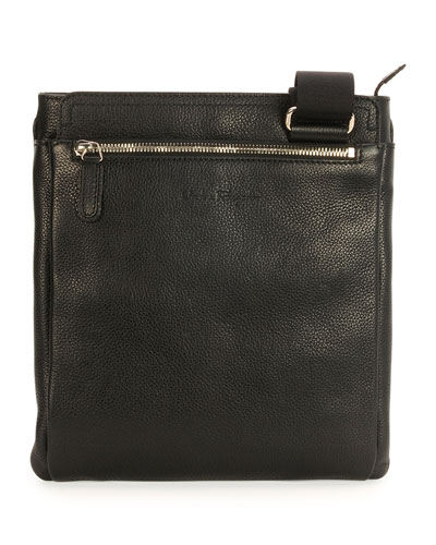 Leather Messenger Bag, Black