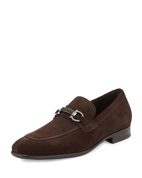 Salvatore Ferragamo Monaco Suede Gancini Loafer with Stone
