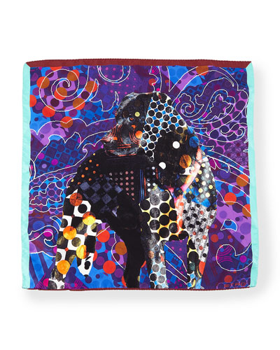 Silk Dog-Print Pocket Square, Blue Multi