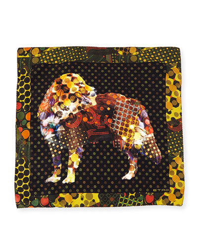 Silk Dog-Print Pocket Square, Yellow Multi
