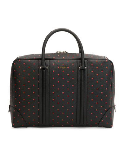 Cross-Patterned Leather Briefcase, Black/Red