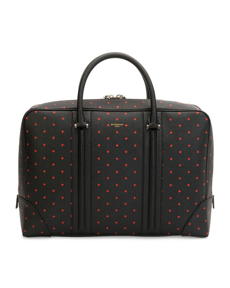 Givenchy Cross-Patterned Leather Briefcase, Black/Red