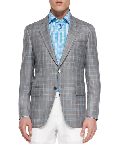 Wool Plaid Sport Coat, Gray/Blue