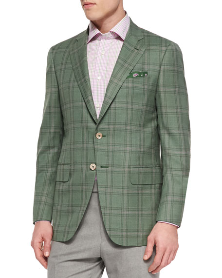 Isaia Plaid Jacket with Contrast Deco, Green/Lavender