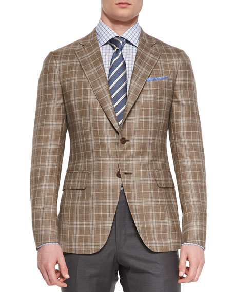 Isaia Plaid Two-Button Jacket, Light Brown/Creme