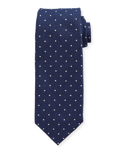 Dot-Patterned Silk Tie, Navy