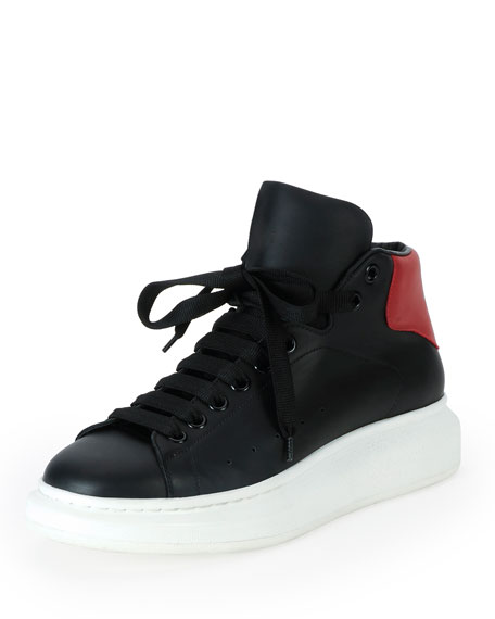 Alexander McQueen Leather High-Top Sneaker with Red Backing,