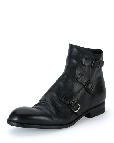 Monk-Strap Leather Boot, Black