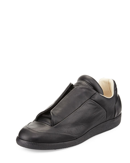 Maison Margiela Future Men's Leather Low-Top Sneaker, Black