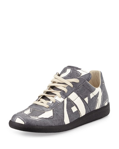 Tumbled Printed Calfskin Sneaker, Black/White