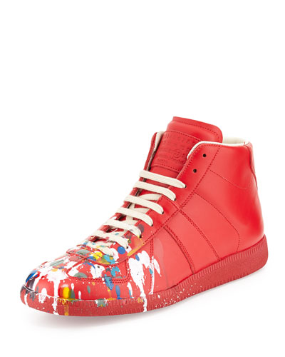 Paint-Splatter Replica High-Top Sneaker, Red