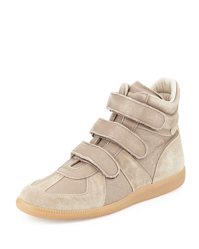 Maison Margiela Leather Grip-Strap High-Top Sneaker