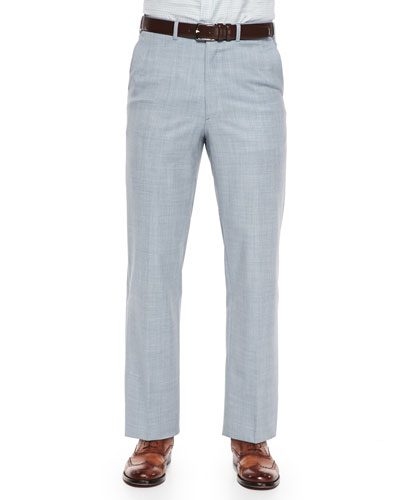 Heathered Wool Trouser, Light Blue