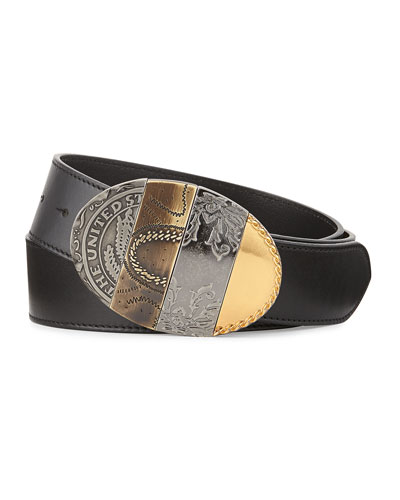 Oval Mixed-Pattern Leather Belt, Black