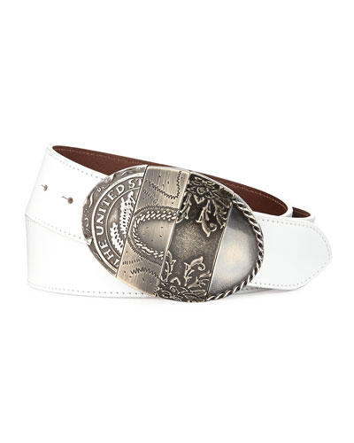 Oval Mixed-Pattern Leather Belt, White