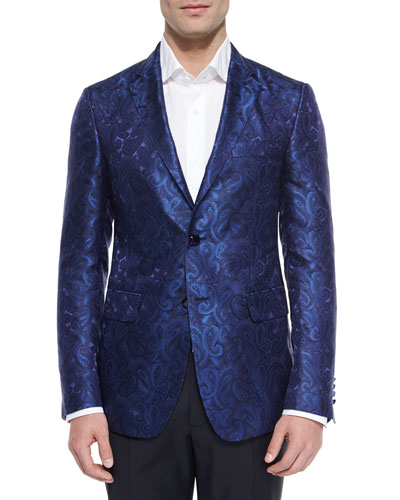 Paisley Jacquard Evening Jacket, Blue