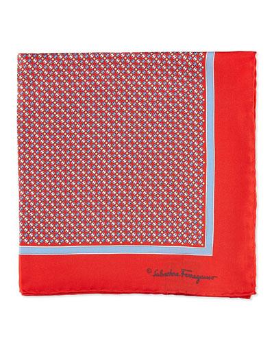 Vara Print Pocket Square, Red