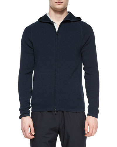 Melker Zip-Up Hooded Sweater, Navy