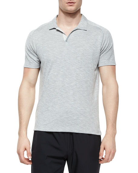 Theory Esra Jersey Knit Polo Shirt Dark Gray