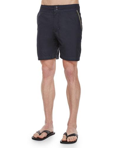 Fiji Solid Swim Trunks, Black