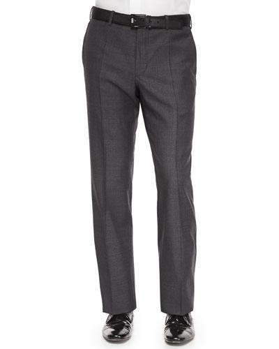 Benson Sharkskin Wool Trousers, Charcoal