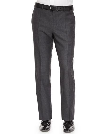 Incotex Benson Sharkskin Wool Trousers, Charcoal