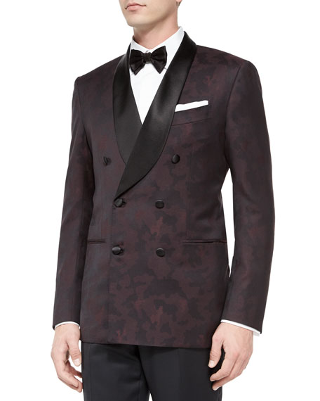 Kiton Camo-Print Double-Breasted Dinner Jacket, Burgundy