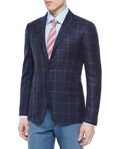 Kiton Cashmere-Blend Windowpane Sport Coat, Navy/Coral