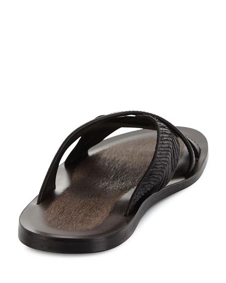Artisan Crisscross Leather Sandal, Black