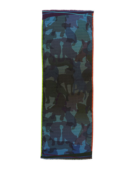 Etro Dog Camo Check Men's Scarf, Blue
