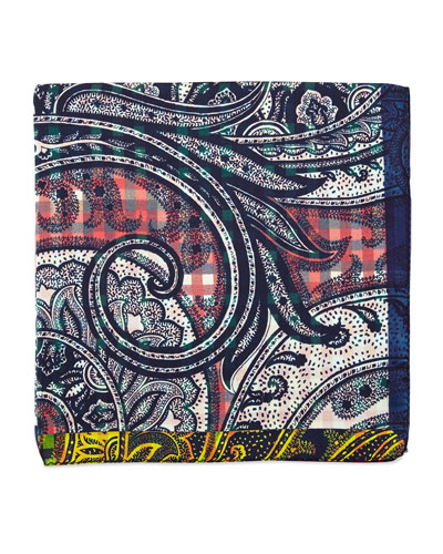 Silk Paisley Print Pocket Square, Pink/Blue