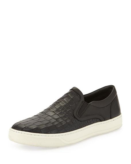 Vince Ace Men's Stamped-Leather Slip-On Sneaker, Black