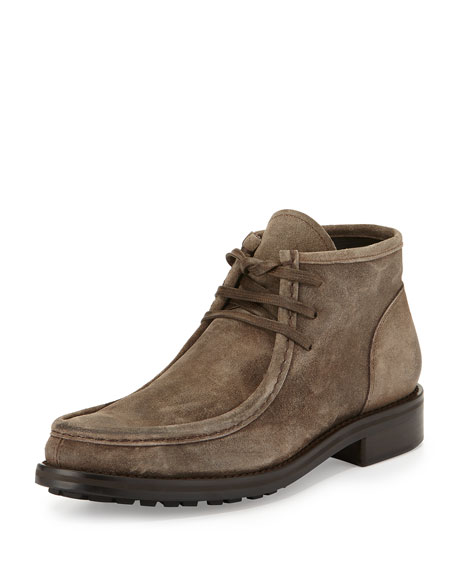 Vince Crawford Lugged Suede Boot, Beige