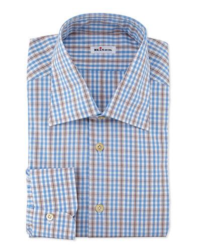 Plaid Woven Dress Shirt, Blue/Brown