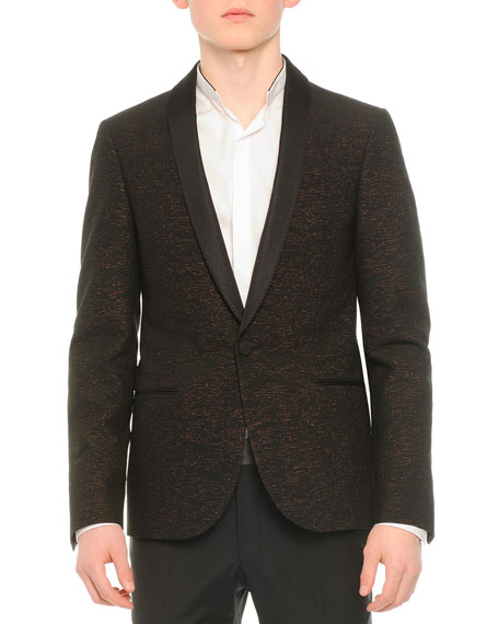 Lanvin Shawl-Collar Textured Evening Jacket, Black/Copper