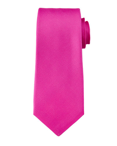 Textured Silk Knit Tie, Hot Pink