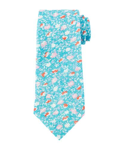 Flower-Print Linen Tie, Turquoise
