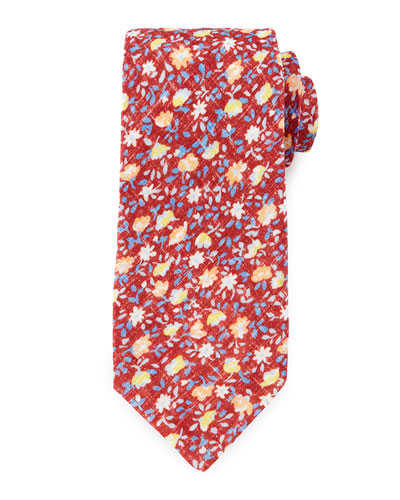 Flower-Print Linen Tie, Red