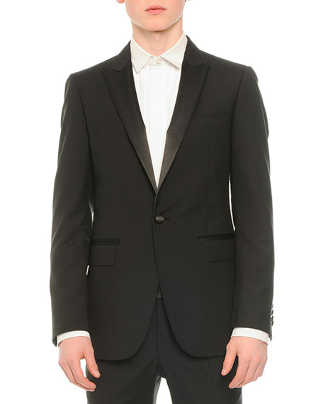 Lanvin Satin-Lapel Tuxedo Jacket, Tuxedo Shirt with Pleated