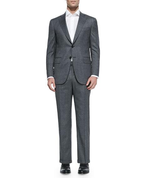 Isaia Two-Piece Herringbone Suit, Light Gray