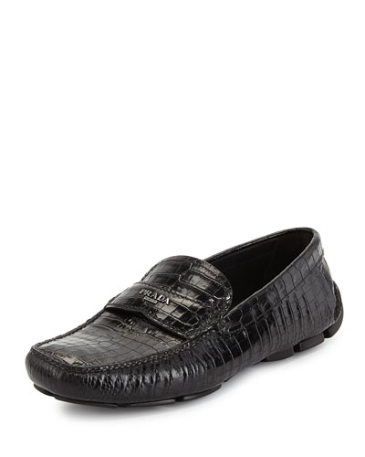 Croc-Embossed Leather Driving Loafer, Black