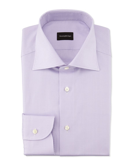 Ermenegildo Zegna Micro-Graph Check Dress Shirt, Lavender