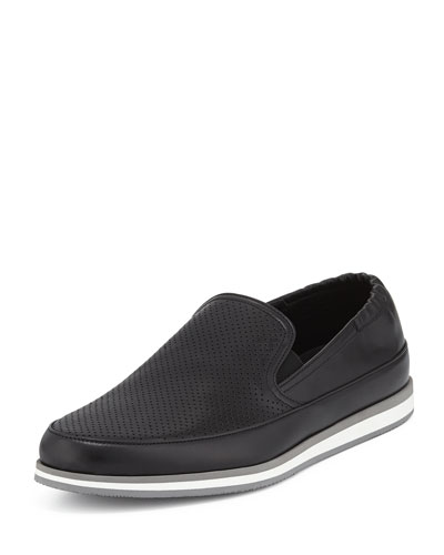 Perforated Leather Slip-On Loafer, Black
