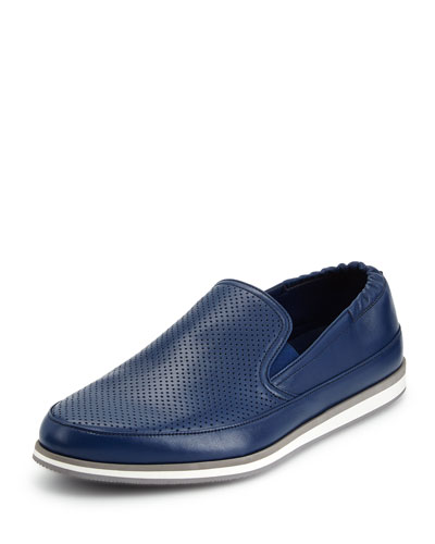 Perforated Leather Slip-On Shoe, Blue