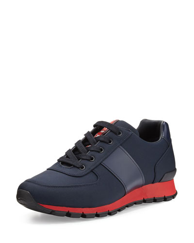 Leather & Nylon Running Sneaker, Blue/Gray