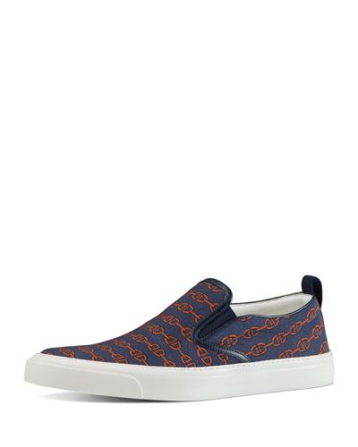 Horsebit Pinstripe Print Slip-On Sneaker, Blue