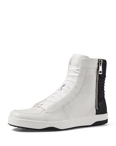 Leather High-Top Sneaker with Zipper, White/Black/White