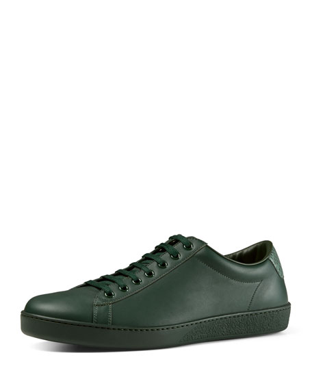 Gucci Leather Low-Top Sneaker, Green
