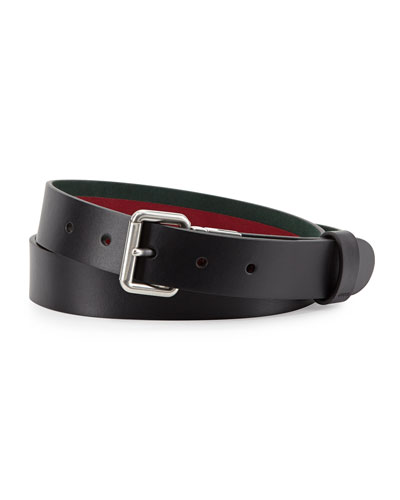 Reversible Leather Belt, Black